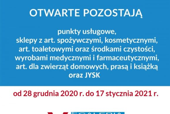 Ograniczenia funkcjonowania galerii od 28 grudnia 2020 r.